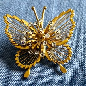Vintage Gold Tone Butterfly and Crystals Brooch